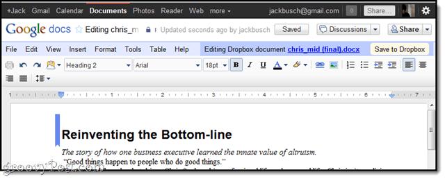 CloudHQ edit dropbox google docs
