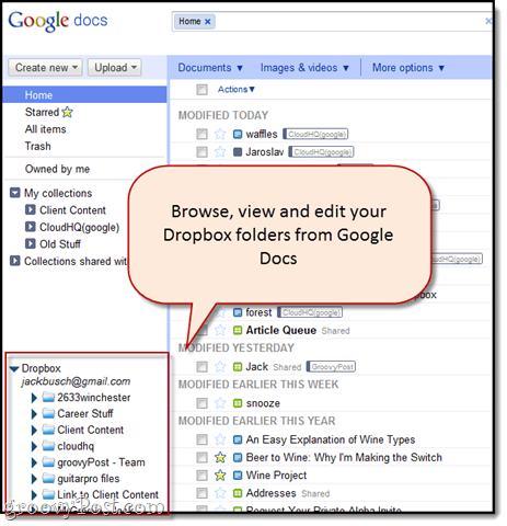 browse dropbox from google docs