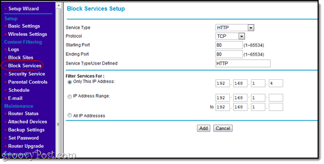 block services with netgear