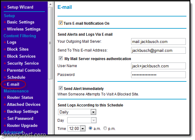 email alerts for block sites in netgear