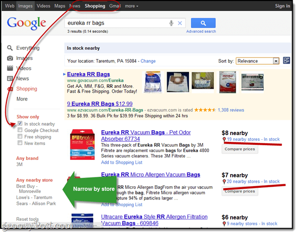 google shopping search tip
