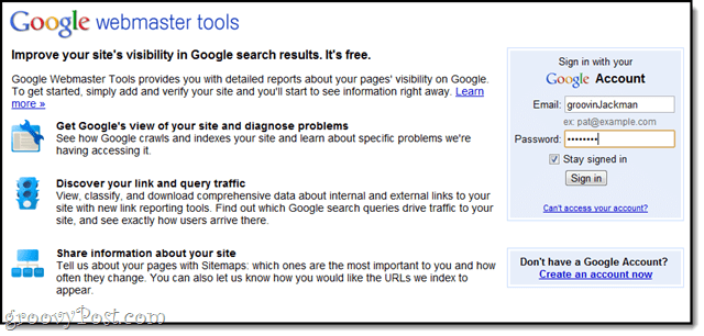 sign in to goolge webmaster tools