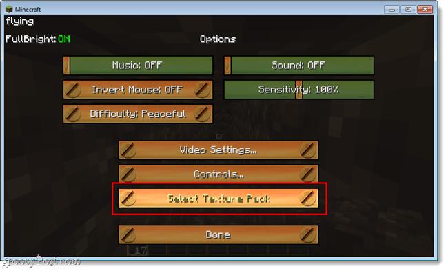 minecraft in game texture changer