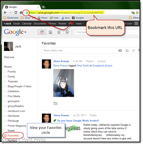 bookmark favorites in google plus