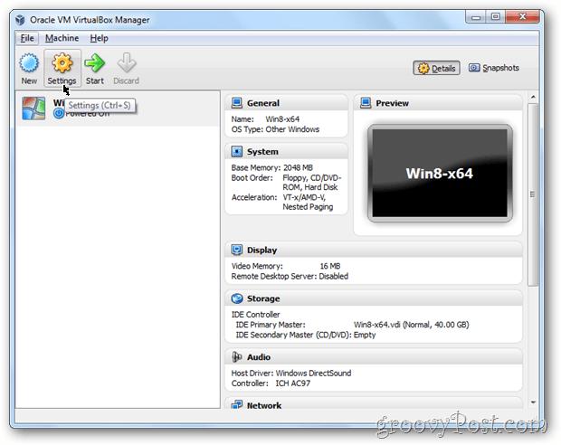 VirtualBox settings config windows 8