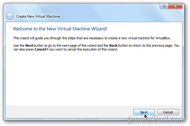 VirtualBox Wizard windows 8