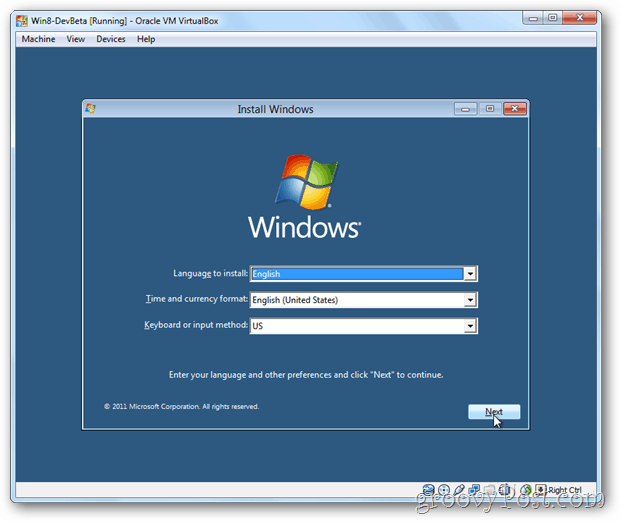 VirtualBox Windows 8 install menu