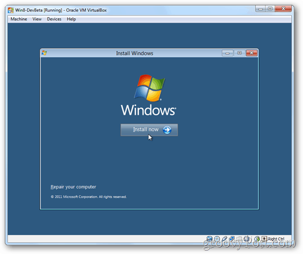 VirtualBox Windows 8 install now box