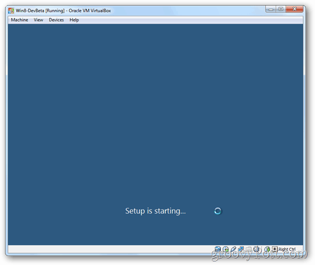 VirtualBox Windows 8 setup is starting