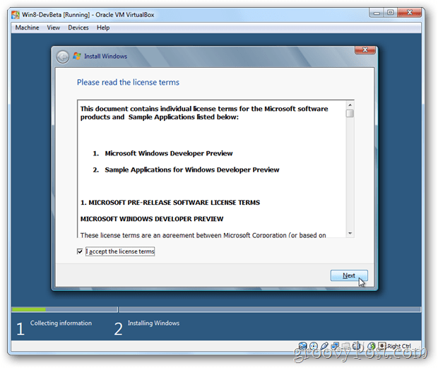 VirtualBox Windows 8 eula accept license