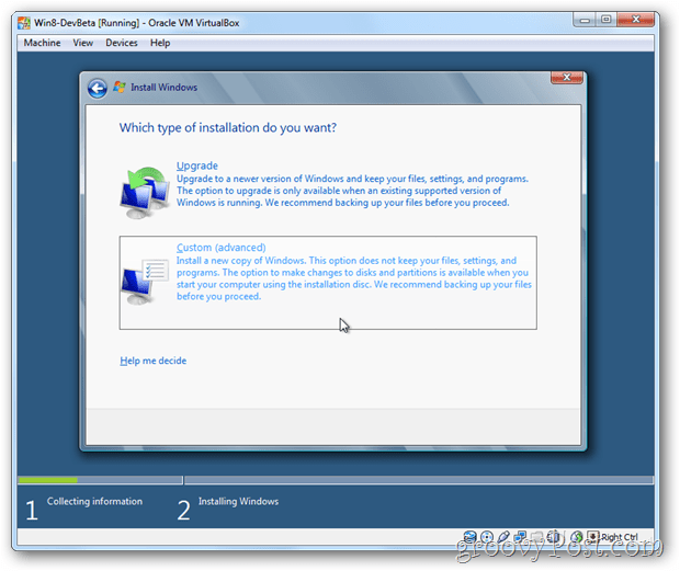 VirtualBox Windows 8 choose custom install