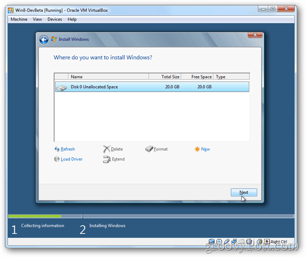 VirtualBox Windows 8 choose disk for install