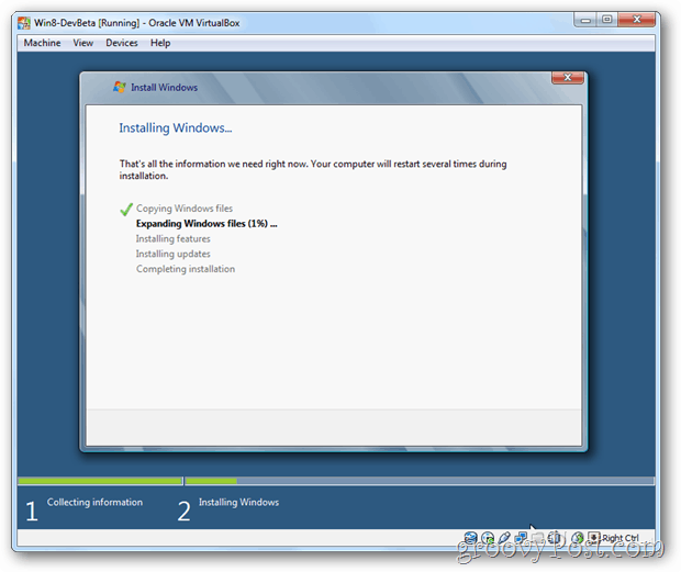 VirtualBox Windows 8 installing windows screen