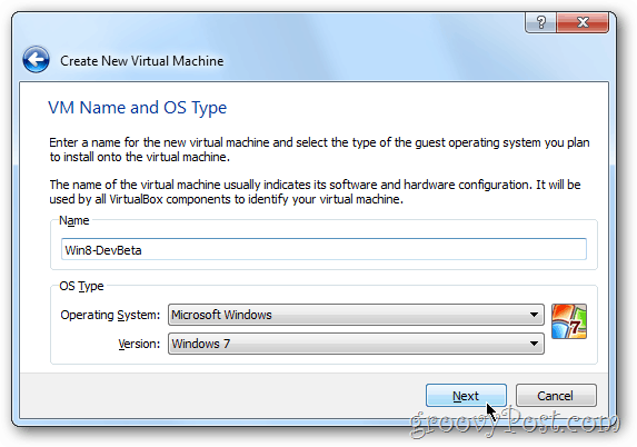 VirtualBox choose os windows 8