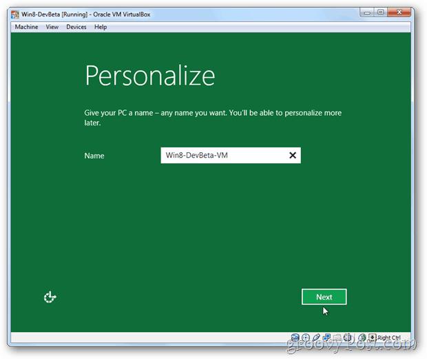 VirtualBox Windows 8 personalize setup pc name