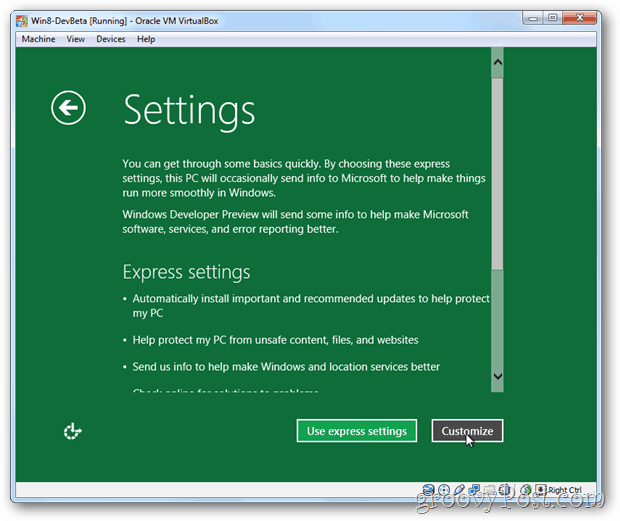 VirtualBox Windows 8 express or customize setup