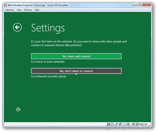 VirtualBox Windows 8 install setup share or not share setup?