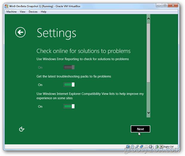 VirtualBox Windows 8 privacy settings online solutions