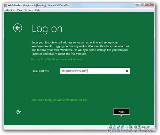 VirtualBox Windows 8 logon information