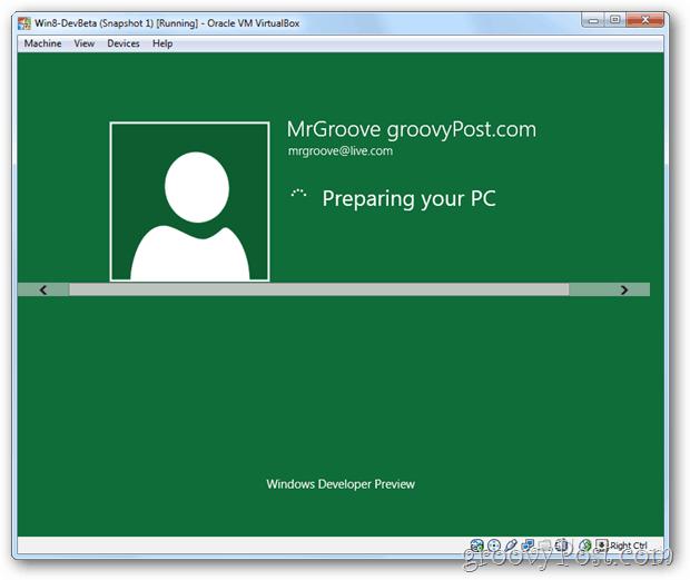 VirtualBox Windows 8 setup preparing desktop