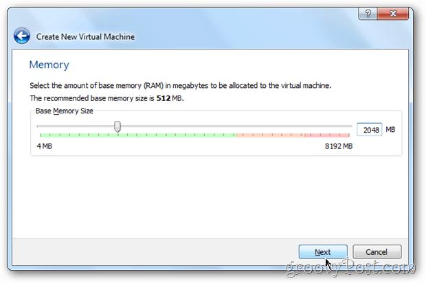 VirtualBox choose memory windows 8