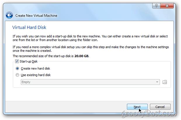VirtualBox setup hard disk size windows 8