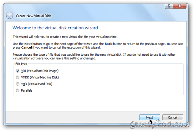 VirtualBox choose virtual box disk image type windows 8