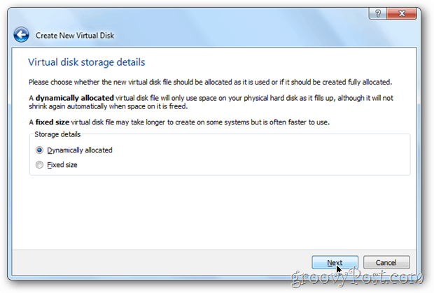 VirtualBox dynamic or fixed? windows 8