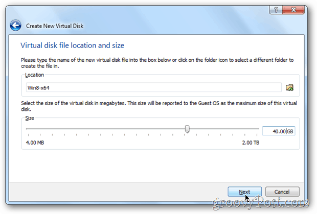 VirtualBox disk size config windows 8