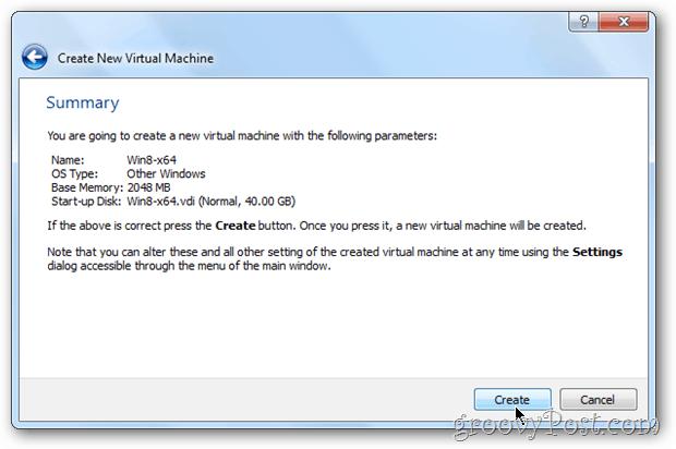VirtualBox summary Vm windows 8