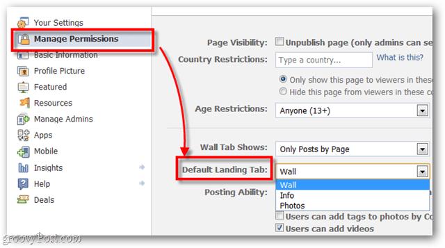 Change Facebook's default Landing Tab
