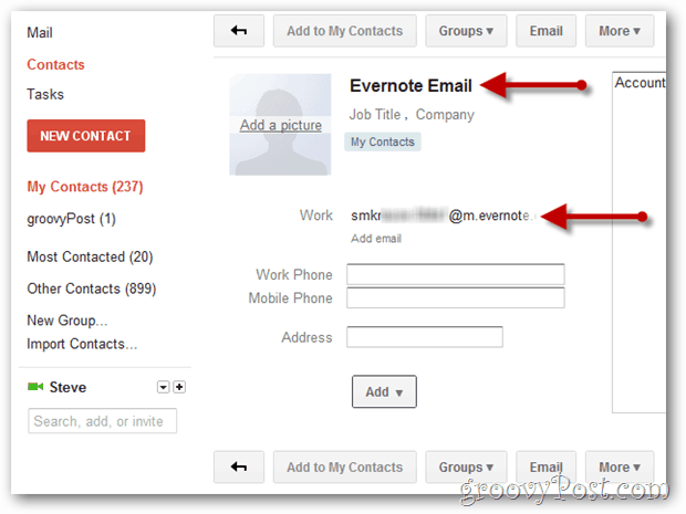 create gmail contact