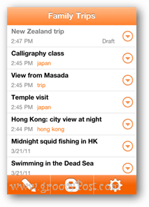 family trip blogger app screenshot