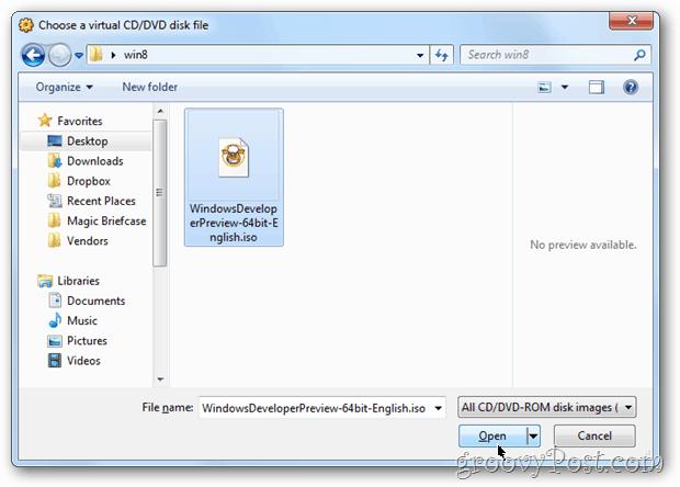 VirtualBox choose iso for install windows 8