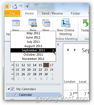 easy select outlook 2010 calendar