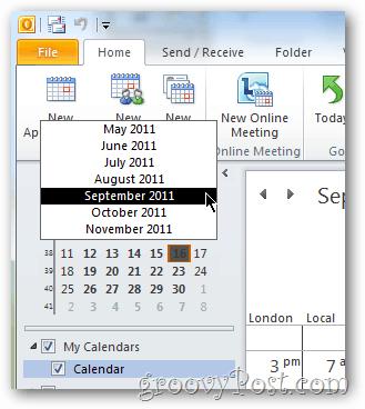 easy select outlook 2010 calendar