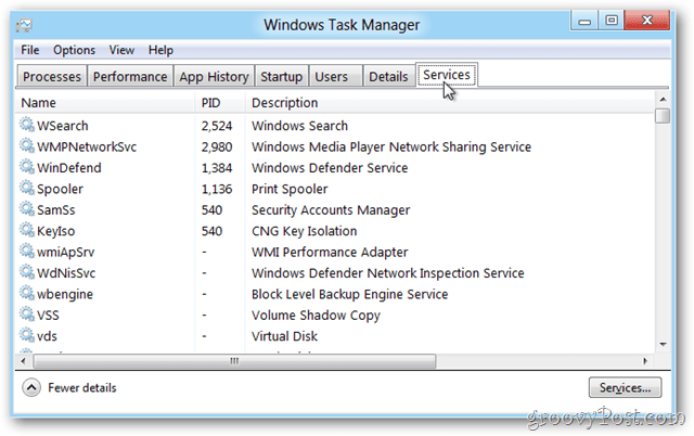 Windows 8 Task Manager Services Tab