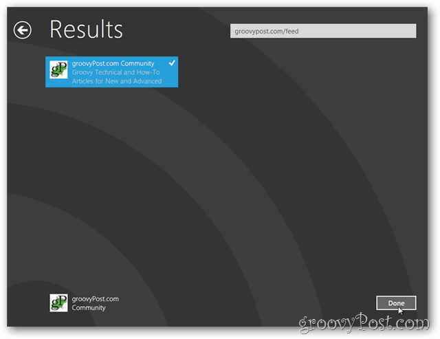 Windows 8 new feed results