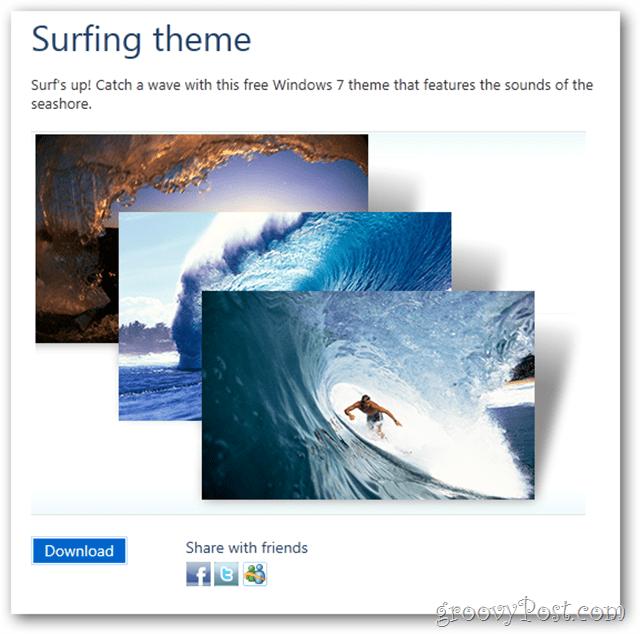 windows 7 free theme surfing