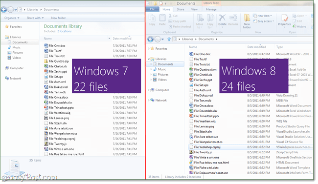 Windows 8 explorer compared to windows 7 explorer