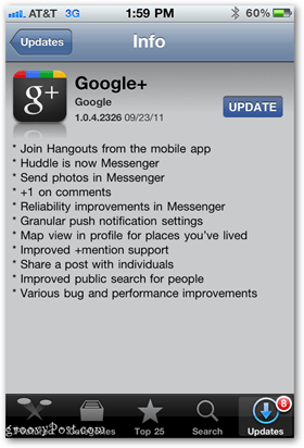 Google+ App Update for iPhone and other iOS devices