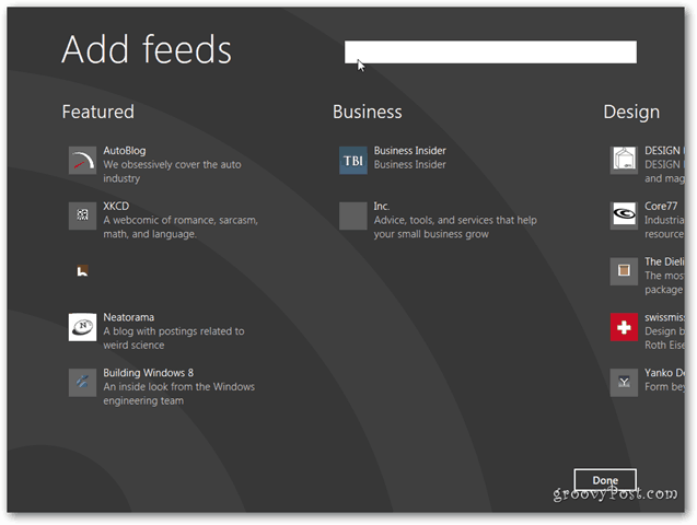 Windows 8 News Feed Add