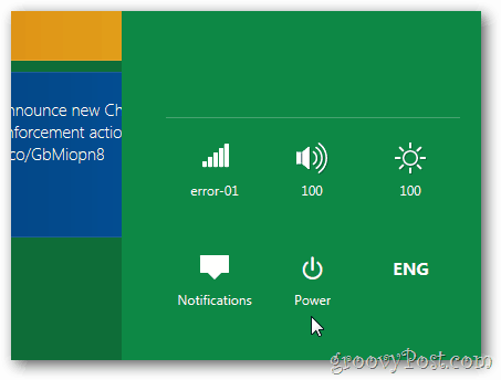Windows 8 Tablet Settings power