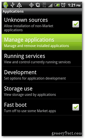 Tap Manage applications