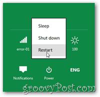 Shutdown restart sleep windows 8