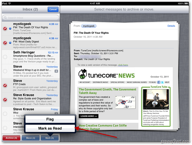 Apple iOS 5 Mail: Flag Messages as Important or Mark as Unread
