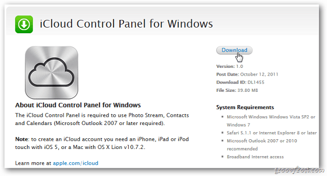 icloud control panel for windows 10 download