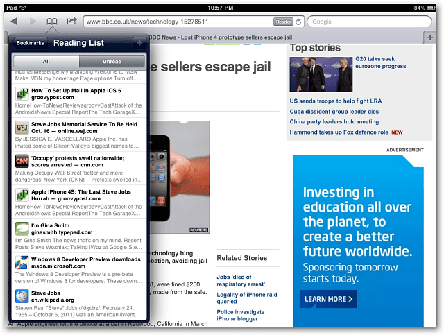 Safari Reader iPad