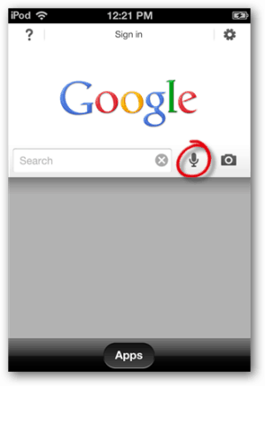 Google search voice recognition for ios