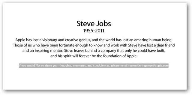 Steve Jobs Passing